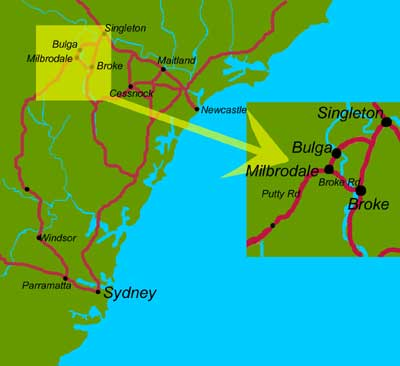 Milbrodale Location in relation to Sydney and Newcastle