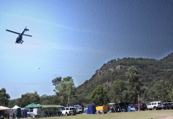 Camping ground with Helicopter ride
